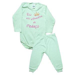 Conjunto Bebê Body Princesa Do Pedaço Pho Verde Com Rosa