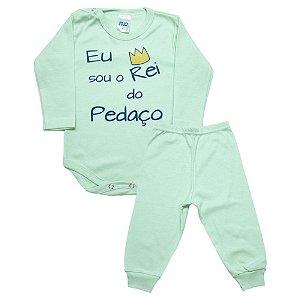 Conjunto Bebê Body Rei Do Pedaço Pho Verde Com Azul