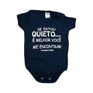 Body Bebê Se Estou Quieto Mundo Miúdo Marinho