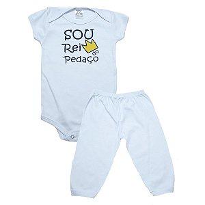 Conjunto Bebê Body Rei Do Pedaço Meu Bebê Branco