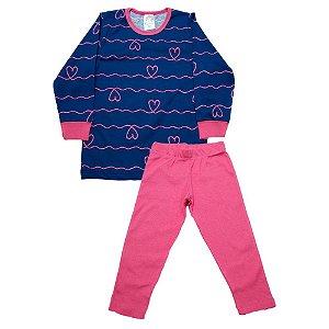 Pijama Infantil Menina Coração Castelo Kids Azul