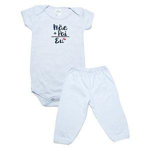 Conjunto Body Bebê Mãe+Pai Meu Bebê Branco