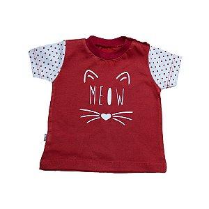 Camiseta Bebê Meow Baby Gut Vermelho