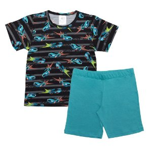Pijama Infantil Menino Carros Castelo Kids Preto