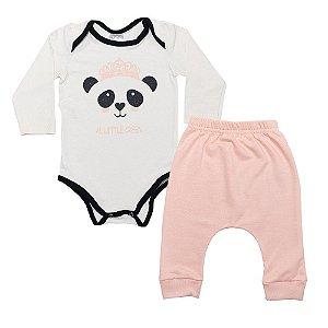 Conjunto Bebê body Panda Uni Duni Pérola