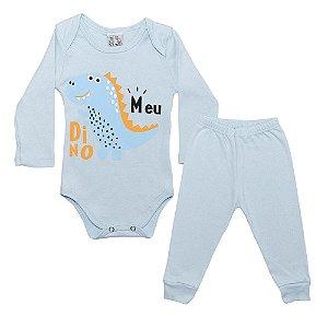 Conjunto Bebê Body Meu Dino Uni Duni Azul