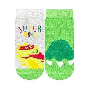 Kit Meias Bebê Super Dino Cia da Meia Verde e Mescla