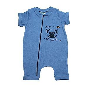 Macaquinho Bebê Dog Astronauta G Kids Azul