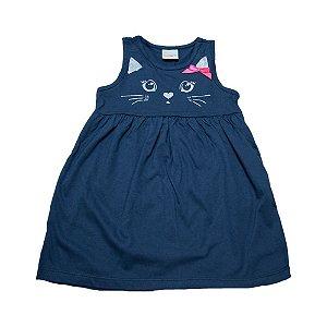 Vestido Infantil Gatinha Eleva Marinho