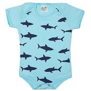Body Bebê Tubarão Jeito Infantil Azul