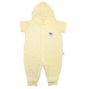 Macacão Bebê Aplique Com Capuz G Kids Amarelo