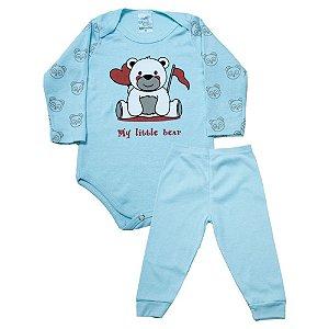 Conjunto Body Bebê Ursinho Anjinho Meu Azul