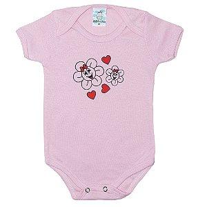 Body Bebê Flores Anjinho Meu Rosa