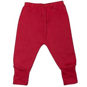 Calça Bebê Vira Pé Jeito Infantil Vermelho