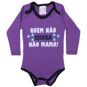 Body Bebê Quem Não Chora Não Mama Lolita Roxo
