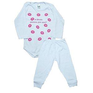 Conjunto Bebê Body Dinda Passou Por Aqui Pho Branco Com Rosa