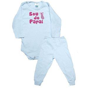 Conjunto Bebê Body Sou Do Papai Pho Branco Com Rosa