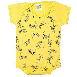 Body Bebê Dinossauros Jeito Infantil Amarelo