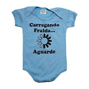 Body Bebê Carregando Fralda Jeito Infantil Azul