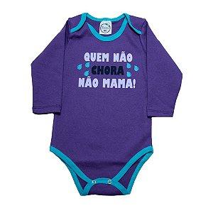 Body Bebê Quem Não Chora Não Mama Lolita Roxo Com Azul