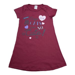 Vestido Infantil Dogs E Cats  Dlook Bordo