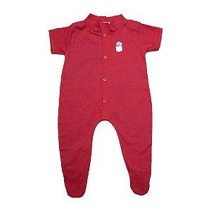 Macacão Bebê Aplique Com Pézinho G Kids Vermelho
