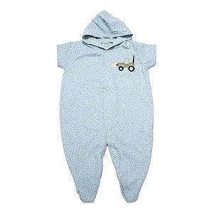 Macacão Bebê Aplique Com Capuz G Kids Mescla