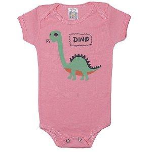 Body Bebê Dino Meu Bebê Rosa