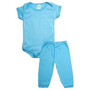 Conjunto Bebê Body e Calça Liso Meu Bebê Azul