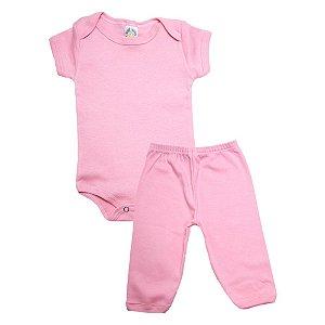 Conjunto Bebê Body e Calça Liso Meu Bebê Rosa
