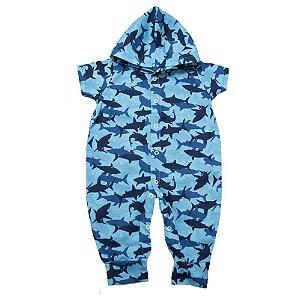 Macacão Bebê Com Capuz Tubarão G Kids Azul