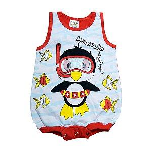 Macaquinho Bebê Pinguim Fantoni Vermelho