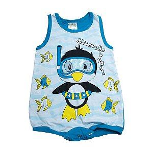 Macaquinho Bebê Pinguim Fantoni Azul Petróleo