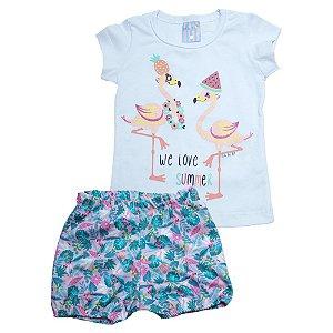 Conjunto Bebê Flamingo Ba & Bi Branco