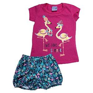 Conjunto Bebê Flamingo Ba & Bi Pink
