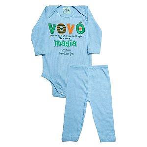 Conjunto Bebê Frase Vovó Jeito Inocente Azul