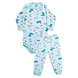 Conjunto Bebê Body Dino Verde Jeito Inocente Branco