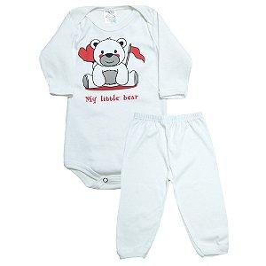 Conjunto Bebê Body e Calça Urso Meu Bebê Pérola