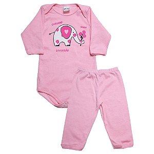 Conjunto Bebê Body e Calça Elefante Meu Bebê Rosa