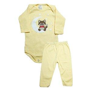 Conjunto Bebê Body e Calça Raposa Meu Bebê Amarelo