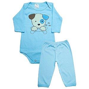 Conjunto Bebê Body e Calça Dog Meu Bebê Azul