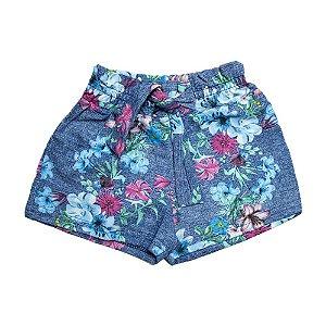 Shorts Infantil Floral Ninando Marinho