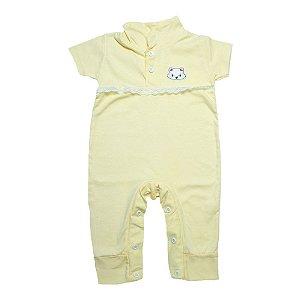 Macaquinho Bebê Com Aplique e Rendinha G Kids Amarelo