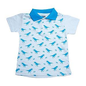 Camiseta Gola Polo Infantil Dino Ninando Branco