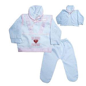 Conjunto Bebê Pagão Super Papai Radani Branco e Rosa