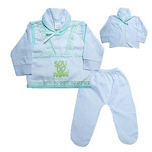 Conjunto Bebê Pagão Com Aplique Radani Branco e Verde