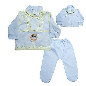 Conjunto Bebê Pagão Com Aplique Radani Branco e Amarelo