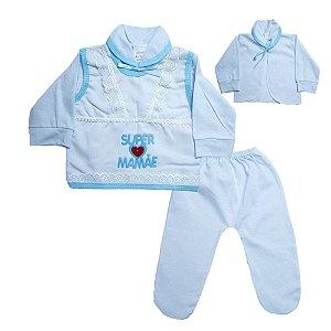 Conjunto Bebê Pagão Mamãe Radani Branco e Azul