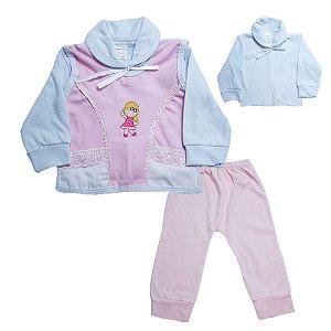 Conjunto Bebê Pagão Com Aplique Radani Branco e Rosa