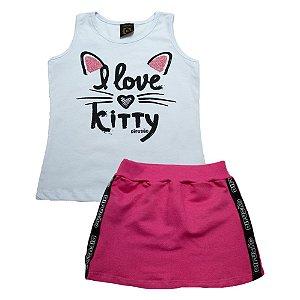 Conjunto Juvenil Love Kitty Difusão Branco